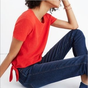 Madewell Red Textured Modern Side Tie Tee